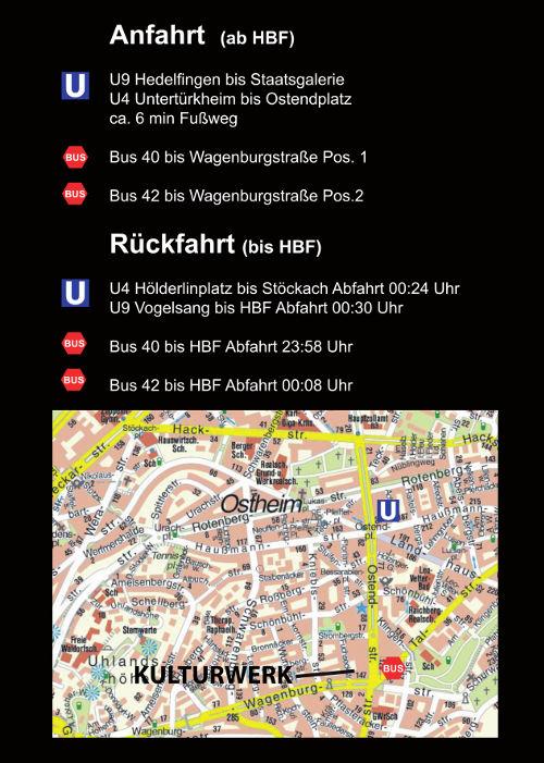 Lageplan vom Kulturwerk und die besten Verbindungen mit öffentlichen Verkehrsmitteln